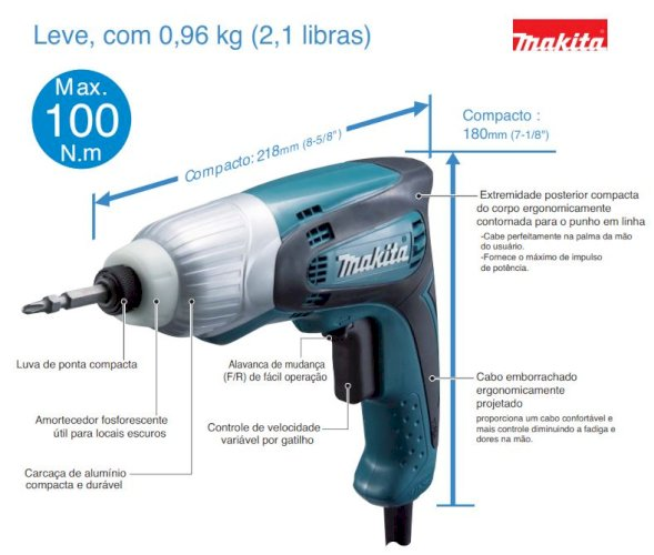 """PARAFUSADEIRA  DE IMPACTO 1/4"""" TD0100"""